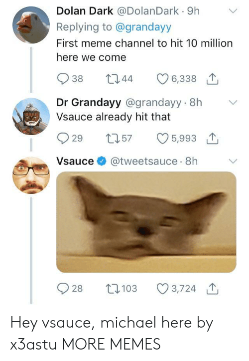 Dank, Meme, and Memes: Dolan Dark @DolanDark 9h  Replying to @grandayy  First meme channel to hit 10 million  here we come  938 344  Dr Grandayy @grandayy 8h V  Vsauce already hit that  929 t57 5,993 T  Vsauce @tweetsauce 8h  2103 3,724 Hey vsauce, michael here by x3astu MORE MEMES