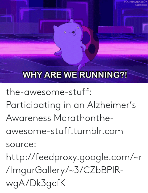 Participating: DOLPHINJUICEBOX  SIRSO00  WHY ARE WE RUNNING?! the-awesome-stuff:  Participating in an Alzheimer's Awareness Marathonthe-awesome-stuff.tumblr.com source: http://feedproxy.google.com/~r/ImgurGallery/~3/CZbBPlR-wgA/Dk3gcfK