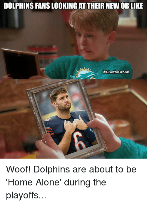 Woofe: DOLPHINS FANS LOOKING AT THEIR NEW QB LIKE  @GhettoGronk Woof! Dolphins are about to be 'Home Alone' during the playoffs...