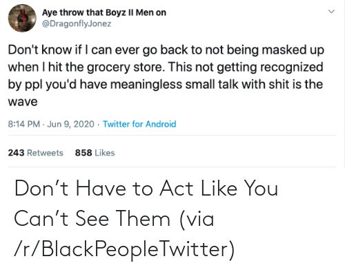 them: Don't Have to Act Like You Can't See Them (via /r/BlackPeopleTwitter)