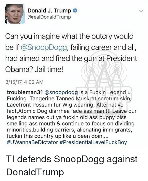 Memes, 🤖, and Skins: Donald J. Trump  arealDonald Trump  Can you imagine what the outcry would  be if  SnoopDogg, failing career and a  had aimed and fired the gun at President  Obama? Jail time!  3/15/17, 4:02 AM  troubleman31 @snoopdogg is a Fuckin Legend u  Fucking Tangerine Tanned Muskrat scrotum skin  Lacefront Possum fur Wig wearing, Alternative  fact,Atomic Dog diarrhea face ass man!!!! Leave our  legends names out ya fuckin old ass puppy piss  smelling ass mouth & continue to focus on dividing  minorities,building barriers, alienating immigrants,  fuckin this country up like u been doin  #UWannaBeDictator #Presidential Level FuckBoy TI defends SnoopDogg against DonaldTrump