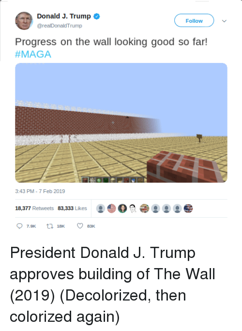 Approves: Donald J. Trump o  @realDonaldTrump  Follow  Progress on the wall looking good so far!  #MAGA  3:43 PM-7 Feb 2019  18,377 Retweets 83,333 Likes O President Donald J. Trump approves building of The Wall (2019) (Decolorized, then colorized again)