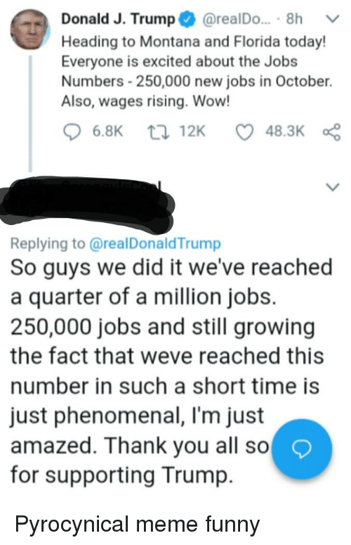 Funny, Meme, and Phenomenal: Donald J. Trump @realDo... . 8h  Heading to Montana and Florida today  Everyone is excited about the Jobs  Numbers-250,000 new jobs in October.  Also, wages rising. Wow!  6.8K ti 12K 48.3K  Replying to @realDonaldTrump  So guys we did it we've reached  a quarter of a million jobs.  250,000 jobs and still growing  the fact that weve reached this  number in such a short time is  just phenomenal, I'm just  amazed. Thank you all so  for supporting Trump.