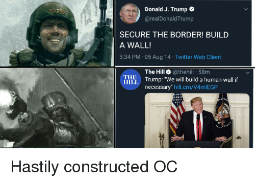 "the master: Donald J. Trump  @realDonald Trump  SECURE THE BORDER! BUILD  A WALL!  3:34 PM 05 Aug 14 Twitter Web Client  The Hill @thehill 58m  Illi Trump: ""We will build a human wall f  THE  HILL  necessary"" hill.cm/V4mlEGP Hastily constructed OC"