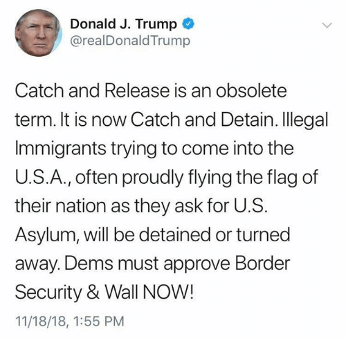 Trump, Conservative, and Ask: Donald J. Trump  @realDonaldTrump  Catch and Release is an obsolete  term. It is now Catch and Detain. Illegal  Immigrants trying to come into the  U.S.A., often proudly flying the flag of  their nation as they ask for U.S.  Asylum, will be detained or turned  away. Dems must approve Border  Security & Wall NOW!  11/18/18, 1:55 PM