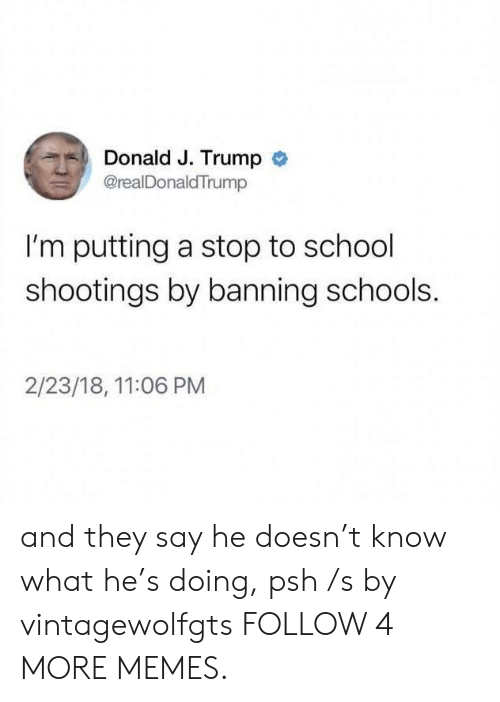 Hes Doing: Donald J. Trump  @realDonaldTrump  I'm putting a stop to school  shootings by banning schools.  2/23/18, 11:06 PM and they say he doesn't know what he's doing, psh /s by vintagewolfgts FOLLOW 4 MORE MEMES.