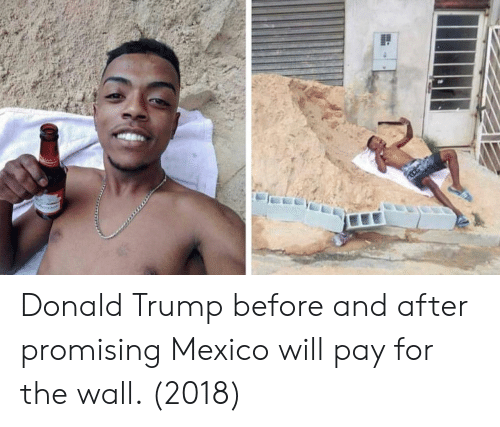 Donald Trump: Donald Trump before and after promising Mexico will pay for the wall. (2018)