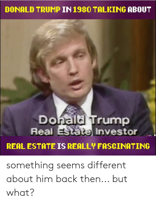 Donald Trump, Memes, and Trump: DONALD TRUMP IN198O TALKING ABOUT  Donaldl Trump  Real  Investor  REAL ESTATE IS REALLY FASCINATING something seems different about him back then... but what?