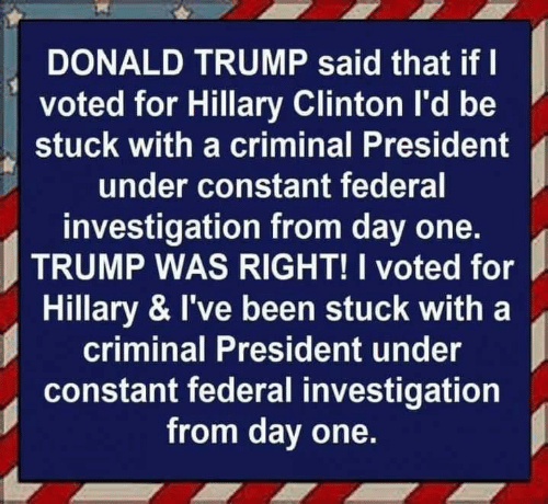 Donald Trump: DONALD TRUMP said that if I  voted for Hillary Clinton I'd be  stuck with a criminal President  under constant federal  investigation from day one.  TRUMP WAS RIGHT! I voted for  Hillary & I've been stuck with a  criminal President under  constant federal investigation  from day one.