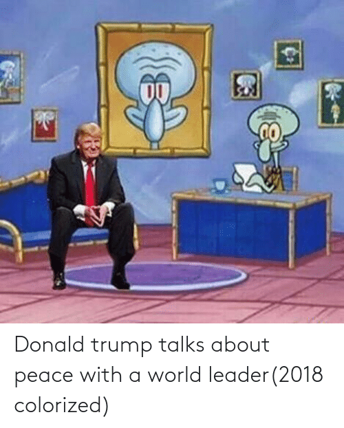 Donald Trump, Trump, and World: Donald trump talks about peace with a world leader(2018 colorized)