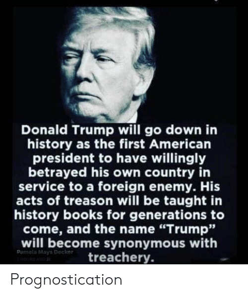 "Books, Donald Trump, and American: Donald Trump will go down in  history as the first American  president to have willingly  betrayed his own country in  service to a foreign enemy. His  acts of treason will be taught in  history books for generations to  come, and the name ""Trump""  will become synonymous with  Pumela Mays Decker  doURS A  treachery. Prognostication"