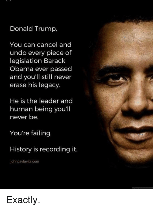 Donald Trump, Obama, and Barack Obama: Donald Trump,  You can cancel and  undo every piece of  legislation Barack  Obama ever passed  and you'll still never  erase his legacy.  He is the leader and  human being you'll  never be.  You're failing  History is recording it.  johnpavlovitz.com Exactly.