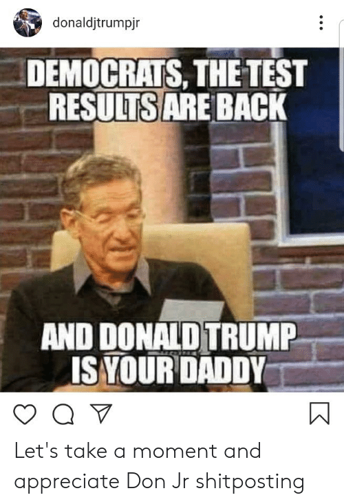 Donald Trump, Appreciate, and Test: donaldjtrumpjr  DEMOCRATS, THE TEST  RESULTSARE BACK  AND DONALD TRUMP  ISYOUR DADDY Let's take a moment and appreciate Don Jr shitposting