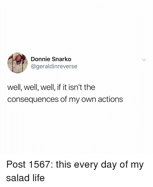 Life, Memes, and 🤖: Donnie Snarko  @geraldinreverse  well, well, well, if it isn't the  consequences of my own actions Post 1567: this every day of my salad life