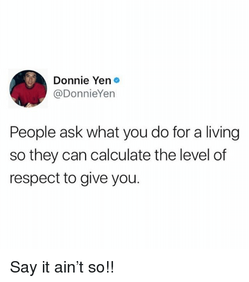 Memes, Respect, and Say It: Donnie Yen  @DonnieYen  People ask what you do for a living  so they can calculate the level of  respect to give you. Say it ain't so!!