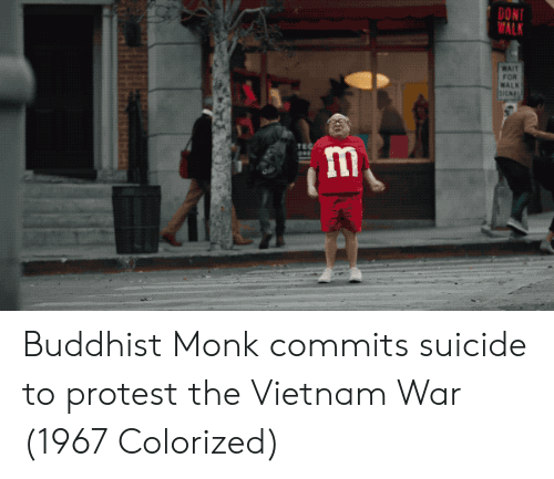 buddhist: DONT  ALK  MAIT  FOR  WALK  TE Buddhist Monk commits suicide to protest the Vietnam War (1967 Colorized)