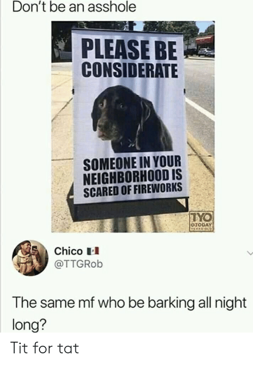 Dont Be: Don't be an asshole  PLEASE BE  CONSIDERATE  SOMEONE IN YOUR  NEIGHBORHOOD IS  SCARED OF FIREWORKS  TYO  OTODAY  VEARS OLD  Chico  @TTGROB  The same mf who be barking all night  long? Tit for tat