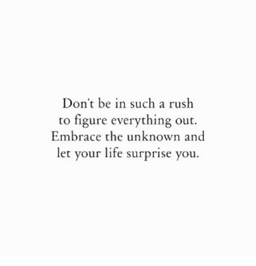 Embrace The: Don't be in such a rush  to figure everything out.  Embrace the unknown and  let your life surprise you