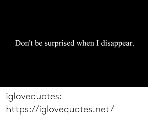 Tumblr, Blog, and Net: Don't be surprised when I disappear. iglovequotes:  https://iglovequotes.net/