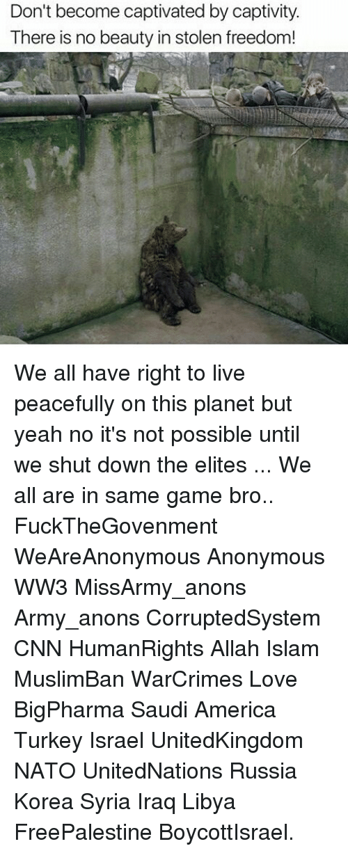 captivated: Don't become captivated by captivity.  There is no beauty in stolen freedom! We all have right to live peacefully on this planet but yeah no it's not possible until we shut down the elites ... We all are in same game bro.. FuckTheGovenment WeAreAnonymous Anonymous WW3 MissArmy_anons Army_anons CorruptedSystem CNN HumanRights Allah Islam MuslimBan WarCrimes Love BigPharma Saudi America Turkey Israel UnitedKingdom NATO UnitedNations Russia Korea Syria Iraq Libya FreePalestine BoycottIsrael.