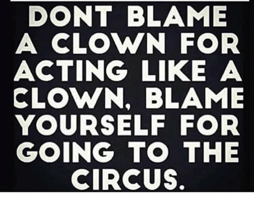 the circus: DONT BLAME  A CLOWN FOR  ACTING LIKE A  CLOWN, BLAME  YOURSELF FOR  GOING TO THE  CIRCUS.
