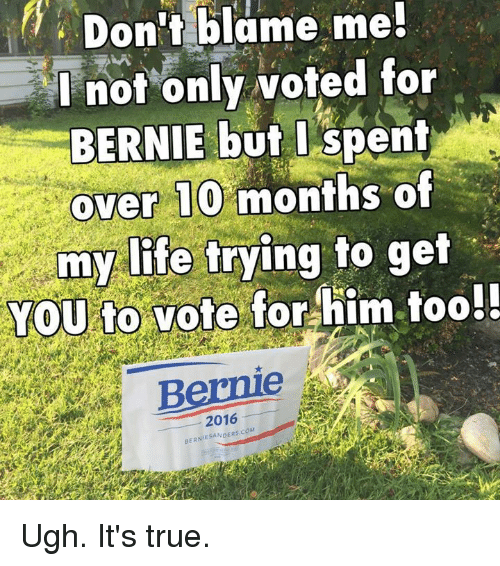Memes, Bernie, and 🤖: Don't blame me!  I not only voted for  BERNIE but I spent  over 10 months of  my life trying to get  You to vote for  him too!!  2016 Ugh. It's true.