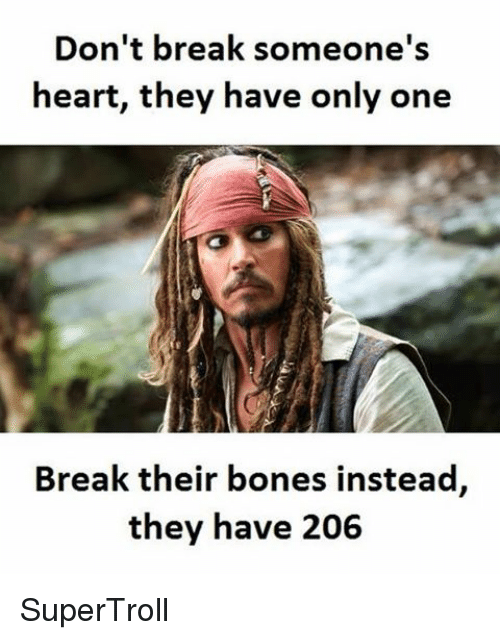 Breaking Someones Heart: Don't break someone's  heart, they have only one  Break their bones instead  they have 206 SuperTroll