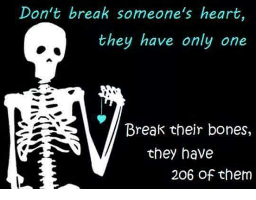 Breaking Someones Heart: Don't break someone's heart,  they have only one  Break their bones,  they have  206 of them