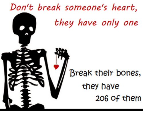 Breaking Someones Heart: Don't break someone's heart  they have only one  Break their bones,  they have  206 of them