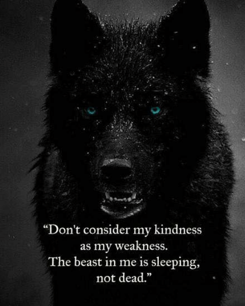 "the beast: ""Don't consider my kindness  as my weakness  The beast in me is sleeping,  not dead."""
