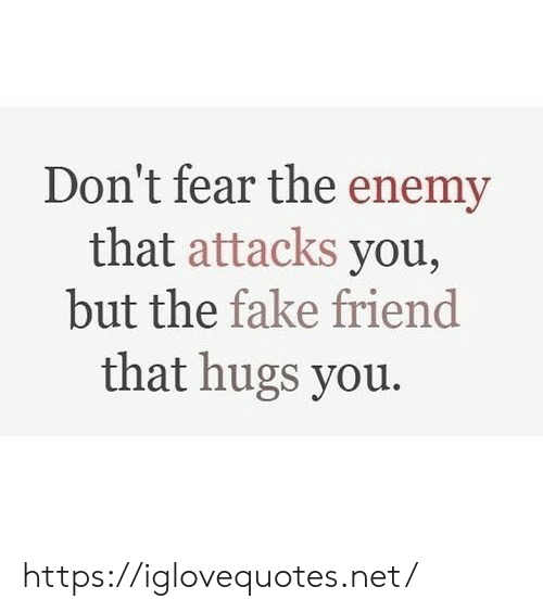 hugs: Don't fear the enemy  that attacks you,  but the fake friend  that hugs you. https://iglovequotes.net/