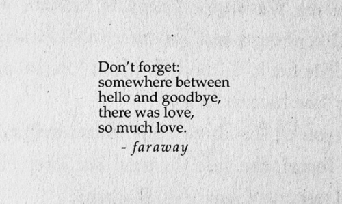 Hello, Love, and Somewhere: Don't forget:  somewhere between  hello and goodbye,  there was love  so much love.  faraway