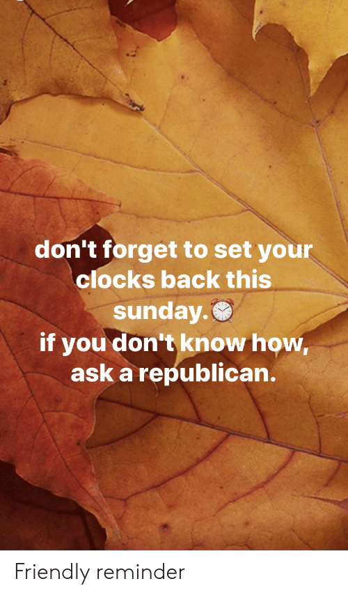 Sunday, Back, and How: don't forget to set your  clocks back this  sunday.  if you don't know how,  ask a republican. Friendly reminder