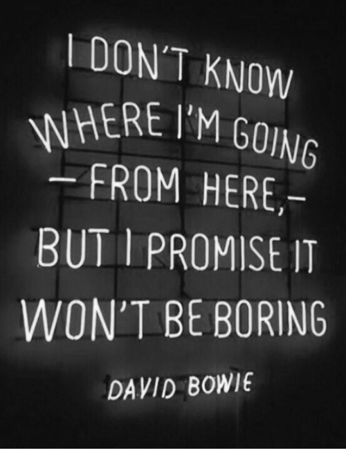 David Bowie: DON'T KNOW  WHERE IM GOING  FROM HERE,-  BUT I PROMISE IT  WON'T BE BORING  DAVID BOWIE