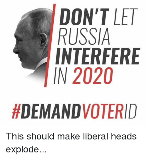 Russia, Liberal, and Make: DON'T LE  RUSSIA  INTERFERE  IN 2020  This should make liberal heads explode...