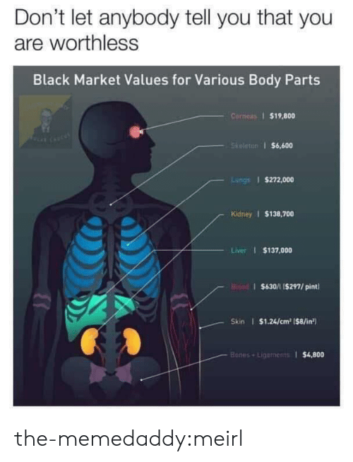 Bones, Target, and Tumblr: Don't let anybody tell you that you  are worthless  Black Market Values for Various Body Parts  Corneas $19,800  Skeleton $6,600  Lungs $272,000  Kidney $138,700  Liver $137,000  Bisad $630/11$297/ pint  Skin $1.24/cm2 (8/in  Bones+Lipaments $4,800 the-memedaddy:meirl