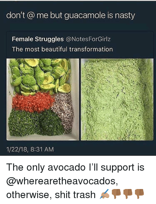 Guacamole: don't @ me but guacamole is nasty  Female Struggles @NotesForGirlz  The most beautiful transformation  1/22/18, 8:31 AM The only avocado I'll support is @wherearetheavocados, otherwise, shit trash ✍🏽👎🏾👎🏾👎🏾