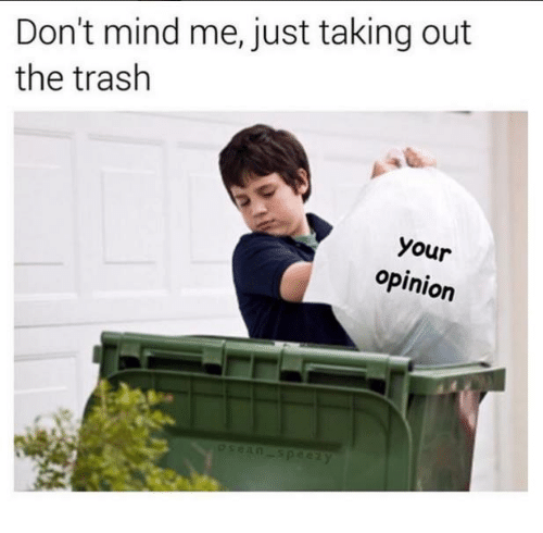 Opinionated: Don't mind me, just taking out  the trash  your  opinion