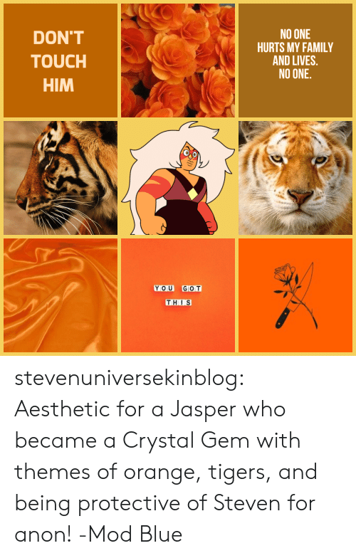 Themes: DON'T  TOUCH  HIM  NO ONE  HURTS MY FAMILY  AND LIVES.  NO ONE  YOU GOT  THIS stevenuniversekinblog: Aesthetic for a Jasper who became a Crystal Gem with themes of orange, tigers, and being protective of Steven for anon! -Mod Blue