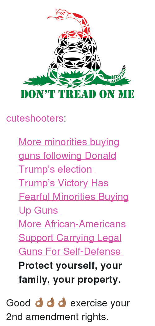 """Dont Tread: DON'T TREAD ON MI <p><a href=""""http://cuteshooters.tumblr.com/post/153790217370/more-minorities-buying-guns-following-donald"""" class=""""tumblr_blog"""">cuteshooters</a>:</p><blockquote> <p><a href=""""http://www.nydailynews.com/news/national/minorities-buying-guns-donald-trump-election-article-1.2886437"""">  More minorities buying guns following Donald Trump's election  </a><br/></p> <p><a href=""""http://www.nbcnews.com/business/consumer/trump-s-victory-has-fearful-minorities-buying-guns-n686881"""">  Trump's Victory Has Fearful Minorities Buying Up Guns  </a><br/></p> <p><a href=""""http://www.npr.org/2015/04/02/396869889/more-african-americans-support-carrying-legal-guns-for-self-defense"""">  More African-Americans Support Carrying Legal Guns For Self-Defense  </a><br/></p> <p><b>Protect yourself, your family, your property.</b></p> </blockquote> <p>Good 👌🏾👌🏾👌🏾 exercise your 2nd amendment rights.</p>"""