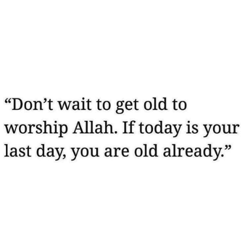 """worship: """"Don't wait to get old to  worship Allah. If today is your  last day, you are old already.""""  25"""