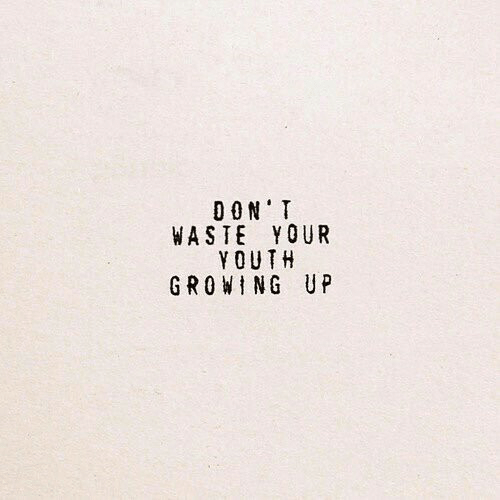 Youth: DON'T  WASTE YOUR  YOUTH  GROWING UP