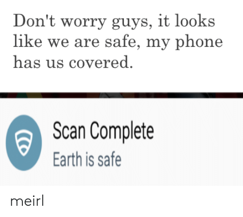 Phone, Earth, and MeIRL: Don't worry guys, it looks  like we are safe, my phone  has us covered  Scan Complete  Earth is safe meirl