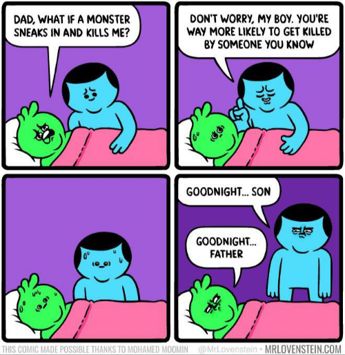 Dad, Monster, and Boy: DON'T WORRY, MY BOY. YOU'RE  WAY MORE LIKELY TO GET KILLED  BY SOMEONE YOU KNOW  DAD, WHAT IF A MONSTER  SNEAKS IN AND KILLS ME?  GOODNIGH... SON  GOODNIGHT...  FATHER  THIS COMIC MADE POSSIBLE THANKS TO MOHAMED MOOMIN@MrLovenstein  MRLOVENSTEIN.COM