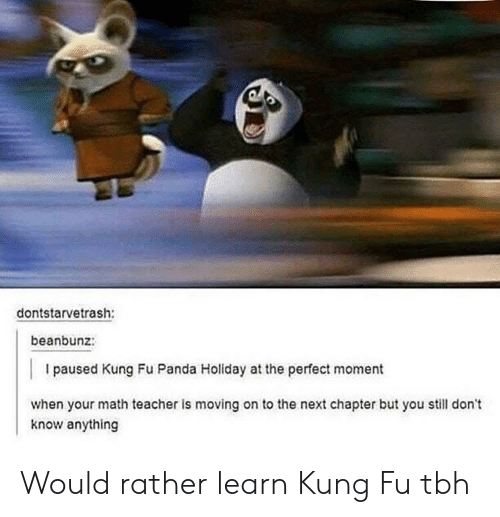 Tbh, Teacher, and Panda: dontstarvetrash:  beanbunz:  I paused Kung Fu Panda Holiday at the perfect moment  when your math teacher is moving on to the next chapter but you still don't  know anything Would rather learn Kung Fu tbh
