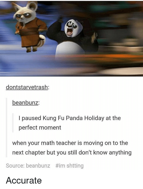 Memes, Panda, and Math: dontstarvetrash  beanbunz  I paused Kung Fu Panda Holiday at the  perfect moment  when your math teacher is moving on to the  next chapter but you still don't know anything  Source: beanbunz Him shtting Accurate