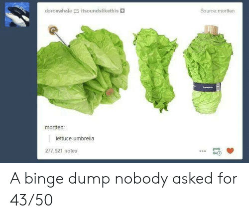 binge: dorcawhale itsoundslikethis  Source:mortten  mortten:  lettuce umbrella  277,921 notes A binge dump nobody asked for 43/50