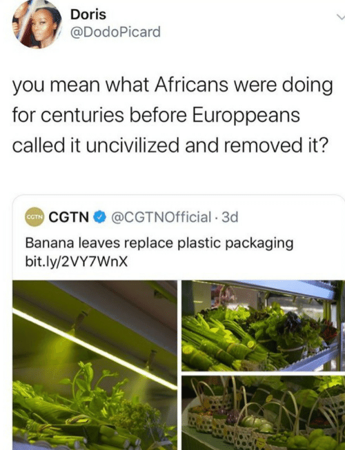 Banana: Doris  @DodoPicard  you mean what Africans were doing  for centuries before Europpeans  called it uncivilized and removed it?  CGTN O @CGTNOfficial · 3d  CTN  Banana leaves replace plastic packaging  bit.ly/2VY7WNX