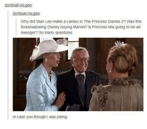 Disney, Memes, and Stan: dorkball-mcgee  dorkball-mcgee  Why did Stan Lee make a cameo in The Princess Diaries 2? Was this  foreshadowing Disney buying Marvel? Is Princess Mia going to be an  Avenger? So many questions  In case you though I was joking