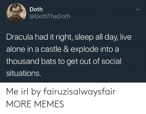 castle: Doth  @DothTheDoth  Dracula had it right, sleep all day, live  alone in a castle & explode into a  thousand bats to get out of social  situations. Me irl by fairuzisalwaysfair MORE MEMES